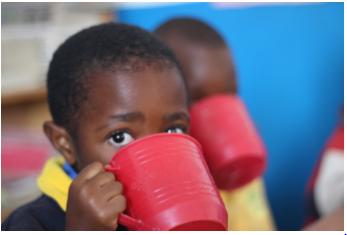 All the children at the Meg Foundation Nursery School get porridge after morning lessons.